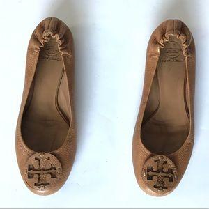 Tory Burch Reva Leather Flats 10.5 Pebbled Sienna